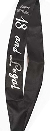 Adult-Party-Celebration-18th-Or-21st-Happy-Birthday-Decorative-Sash-Black-Silver-0