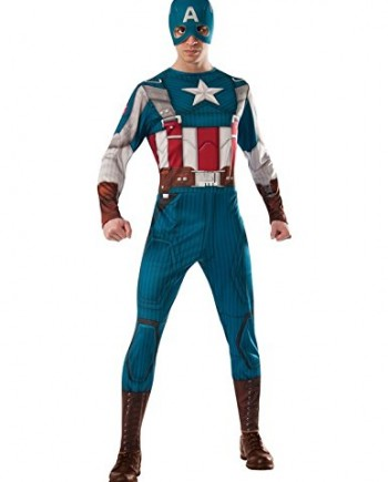 Captain-America-Mask-Mens-Fancy-Dress-Marvel-Avengers-Adults-Costume-Outfit-0
