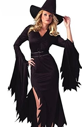 LaLaAreal-Halloween-Costumes-for-Women-Retro-Witch-Sorceress-Costume-2-Pieces-with-Hat-0