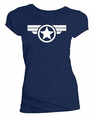 Ladies-Navy-Metallic-Silver-Print-Steve-Rogers-Super-Soldier-Captain-America-Uni-0