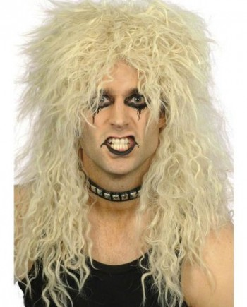 Mens-Womens-Black-Blond-80s-Rocker-Heavy-Metal-Slash-Kiss-Punk-Fancy-Dress-WIG-0