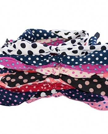 Rabbit-Ears-Polka-Dot-Fabric-Covered-Bow-Head-band-Alice-Band-Hair-Set-of-2-random-colors-0