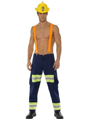 Smiffys-Fever-Male-Firefighter-Costume-with-Trousers-and-Braces-Blue-MEDIUM-0