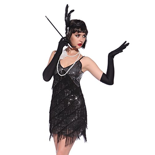 Vintage-1920s-Flapper-Girl-Sequin-Fringed-Cocktail-Party-Dress-Dance-Costume-0